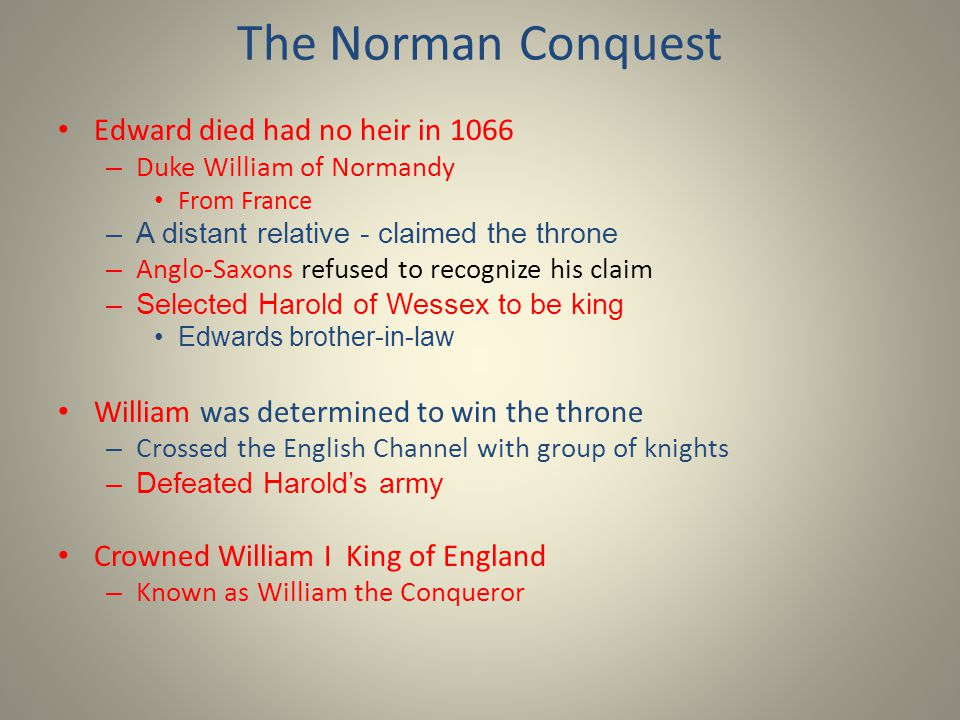 The Norman Conquest Edward died had no heir in 1066