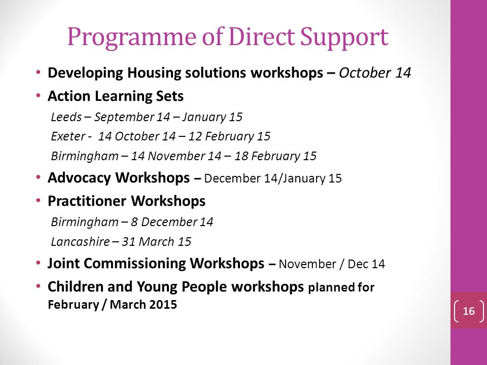 Programme of Direct Support