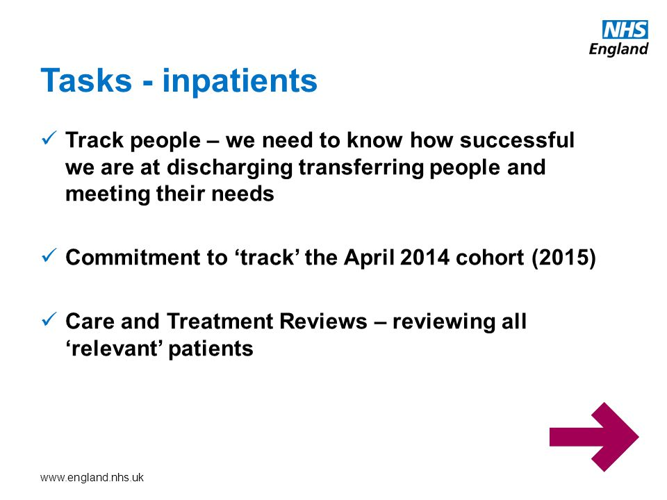 Tasks - inpatients Track people – we need to know how successful we are at discharging transferring people and meeting their needs.