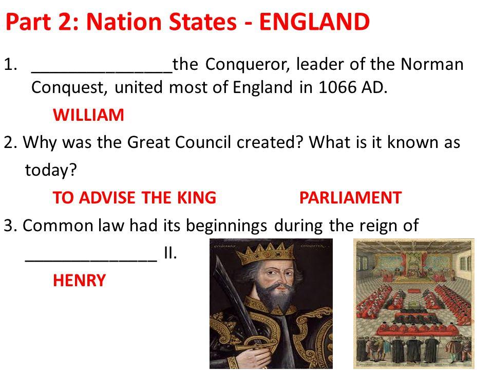 Part 2: Nation States - ENGLAND