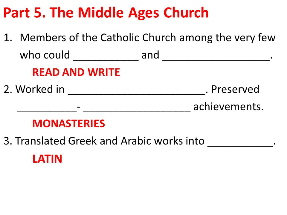 Part 5. The Middle Ages Church