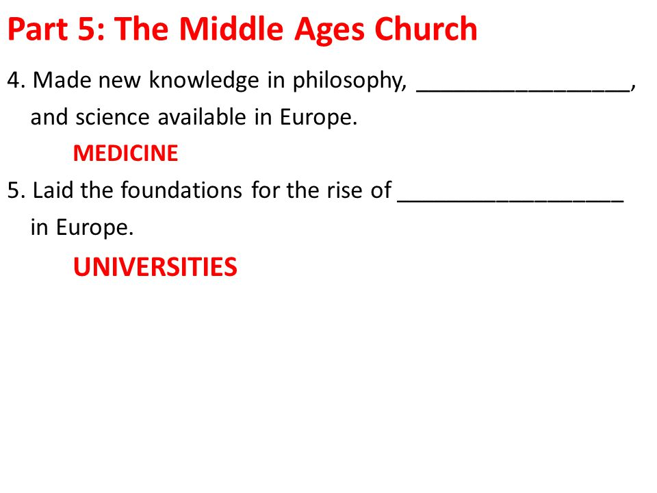 Part 5: The Middle Ages Church