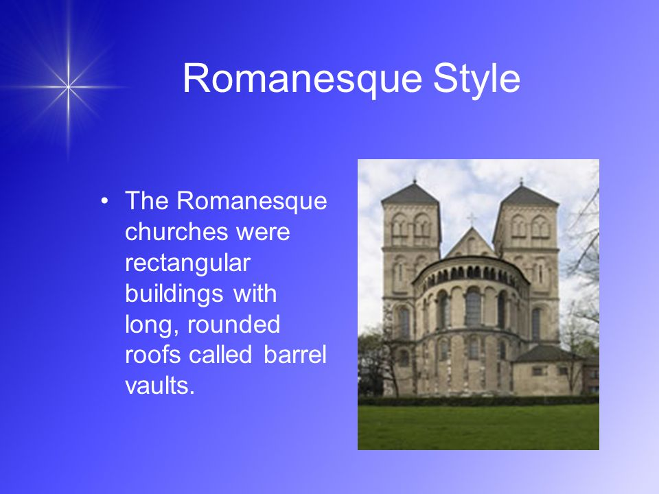 18 Romanesque Style The Romanesque churches were rectangular buildings with long rounded roofs called barrel vaults.  sc 1 st  SlidePlayer & The Church and Society Chapter 15 Section ppt video online download memphite.com