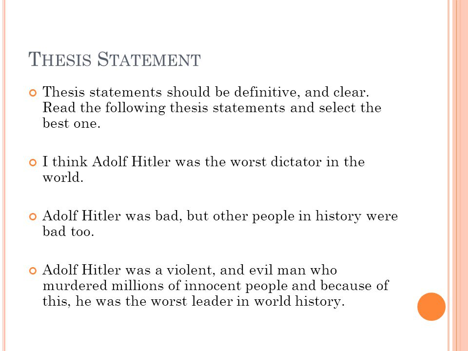into the world thesis statement Writing essays well: introductions, thesis statements and topic sentences  of the holocaust in world war ii' then your thesis statement would be something like .