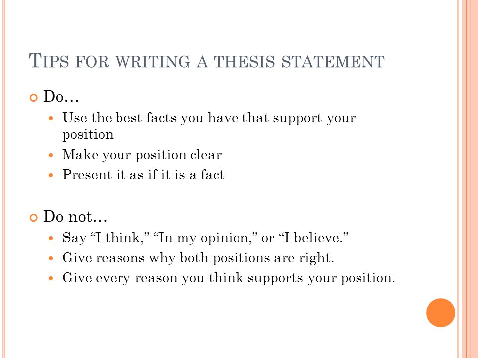 tips in writing a thesis