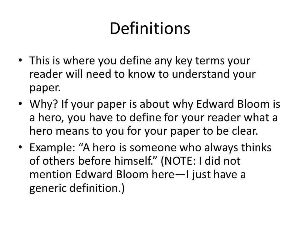 define the key terms essay