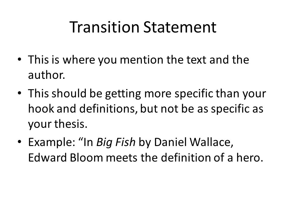transition sentence definition
