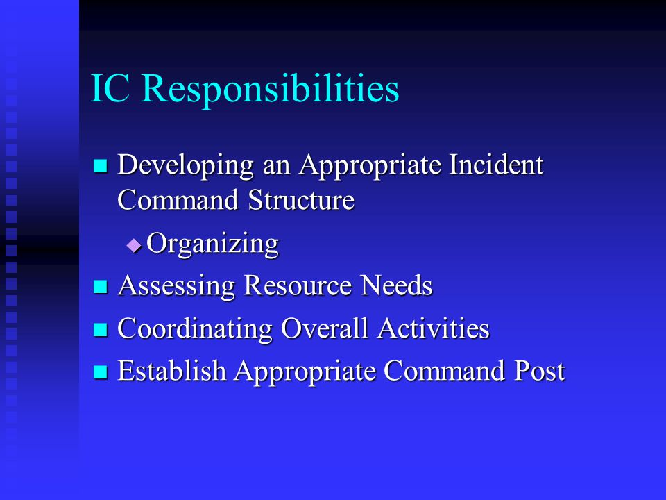 IC Responsibilities Developing an Appropriate Incident Command Structure. Organizing. Assessing Resource Needs.