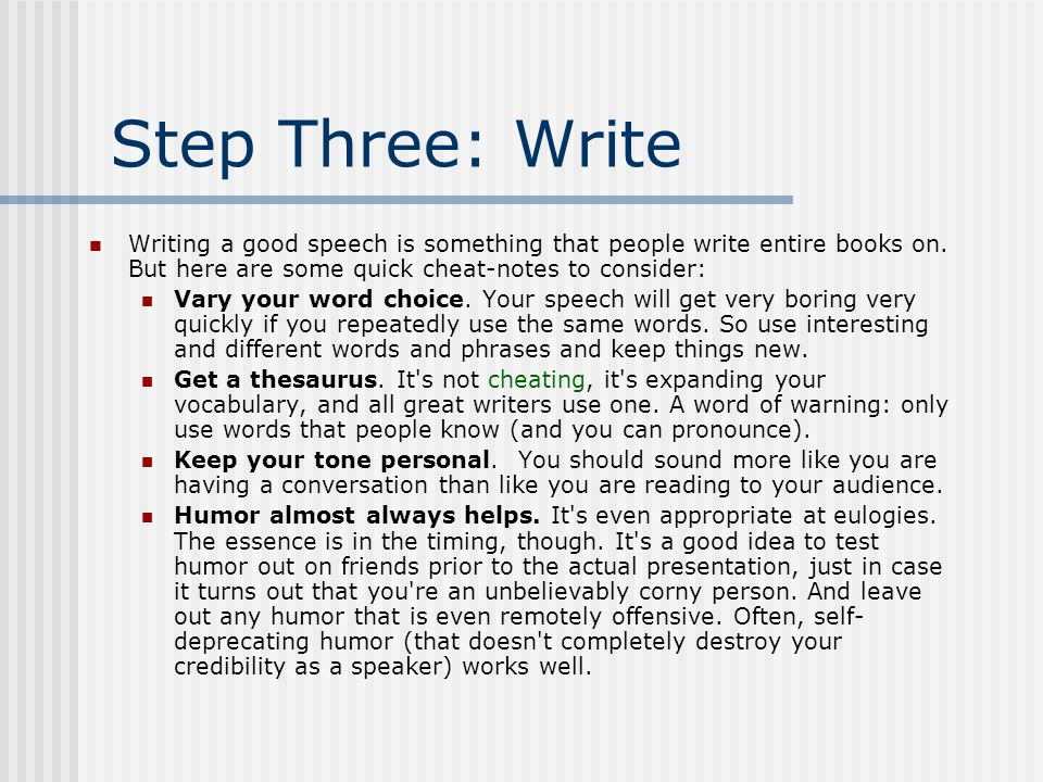 a guide to giving the perfect speech ppt video online  step three write writing a good speech is something that people write entire books on