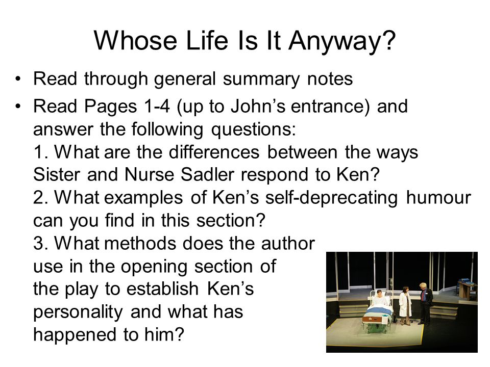 Whos life is it anyway essay