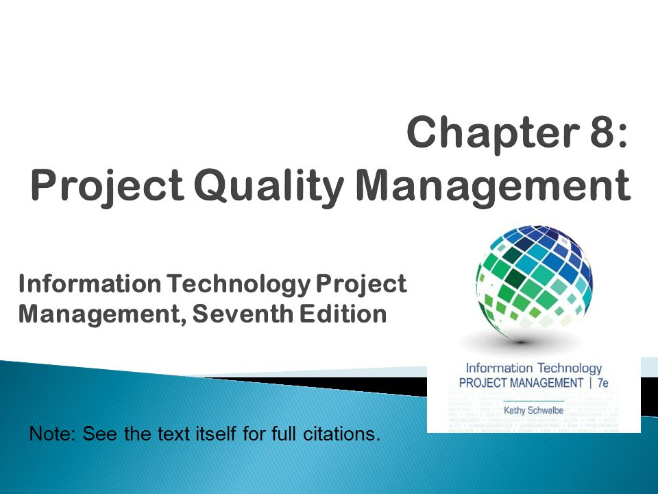 quality management project This sets the standards for the project quality management plans and also acts as a plan for quality in the benefits realisation parts of the programme.
