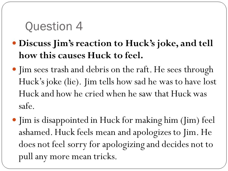 huck finn jim as a father figure One of jim's important roles in huckleberry finn is his function as father figure to huck evident by his benevolent, patient, nurturing nature, jim has an intrinsic desire to care for huck.