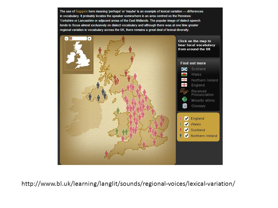 In groups lets explore more lexical variations (differences in words and phrases) around the British isles.