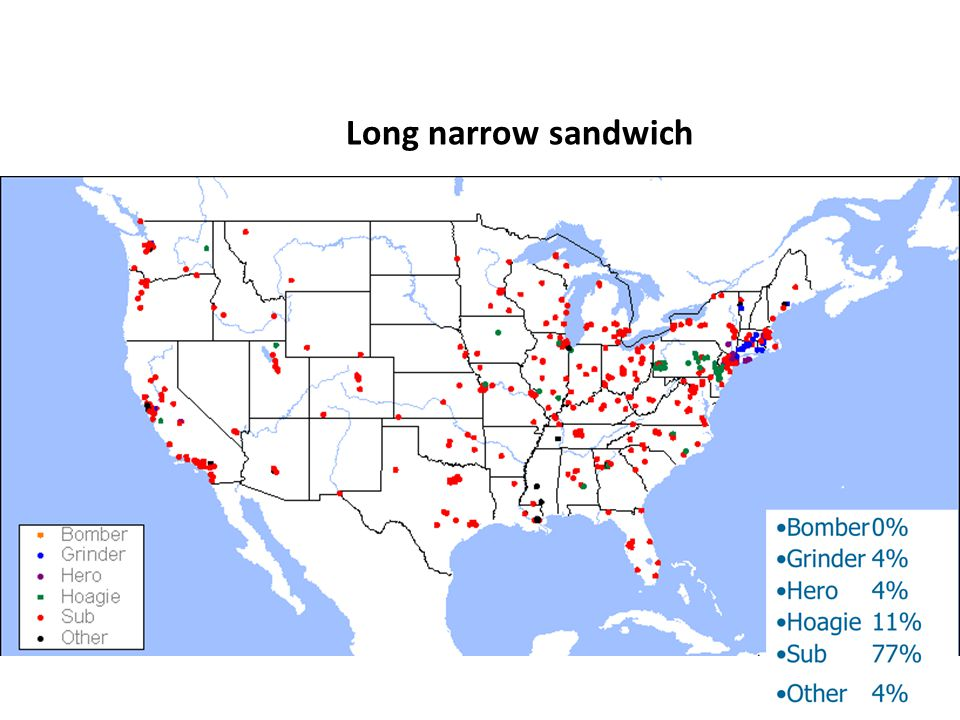 Long narrow sandwich