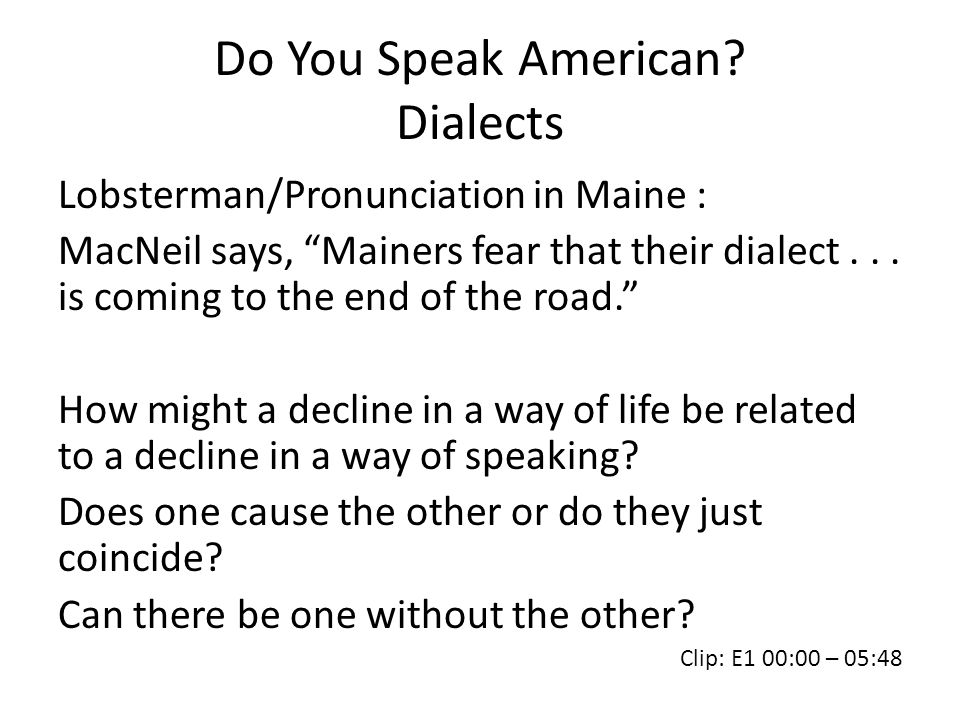 Do You Speak American Dialects