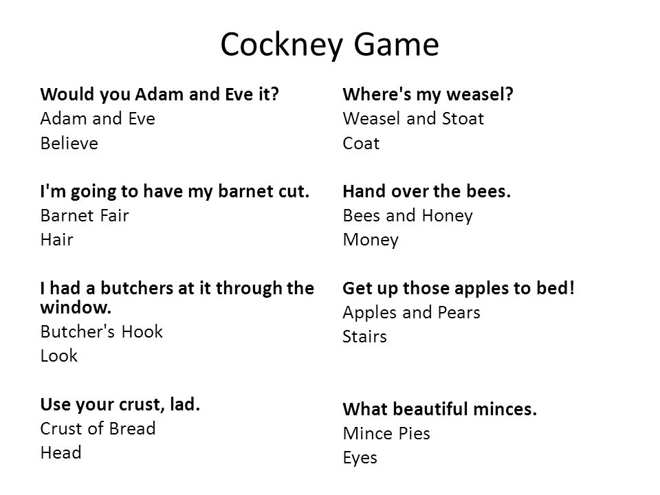 Cockney Game Would you Adam and Eve it Adam and Eve Believe