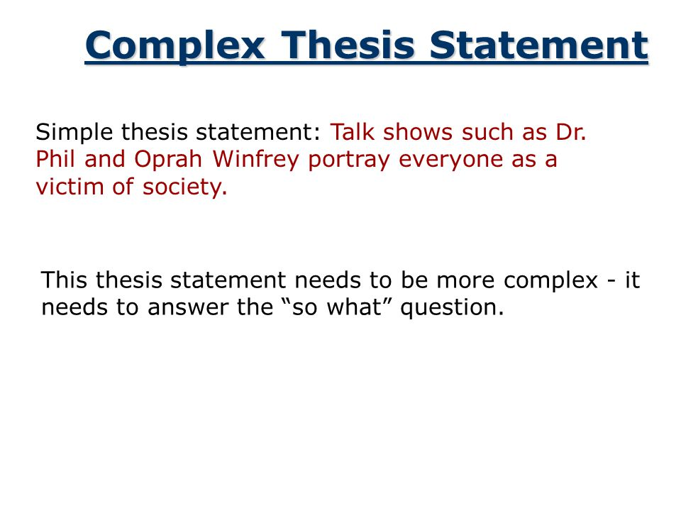 Complex Thesis Statement