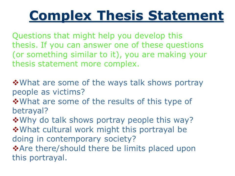 What questions should a thesis statement answer