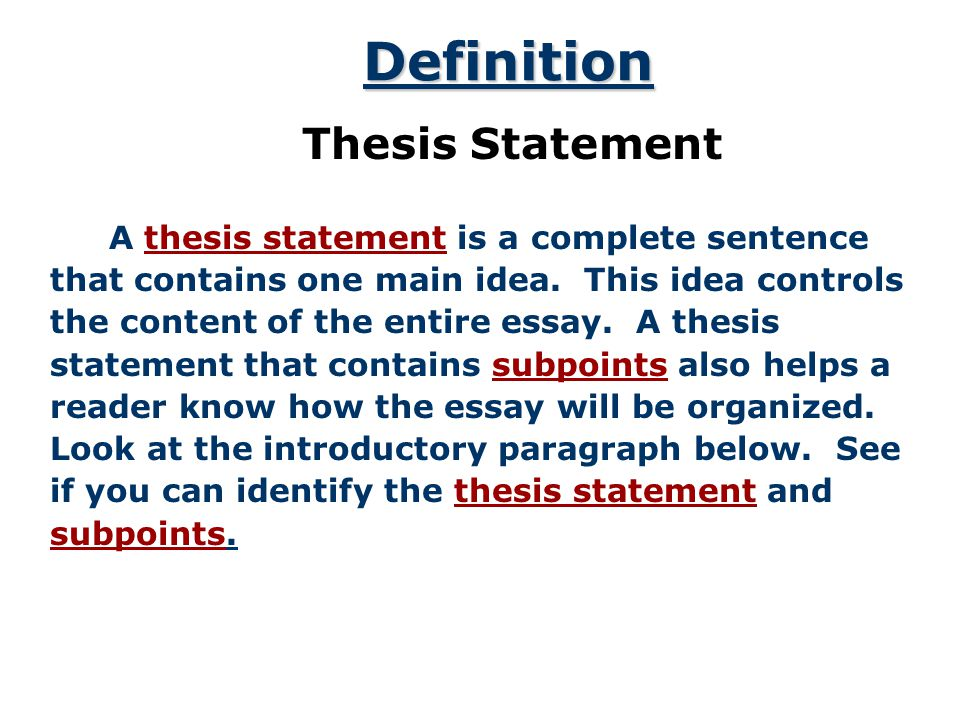Thesis Statement Must Be Written As A Complete Sentence