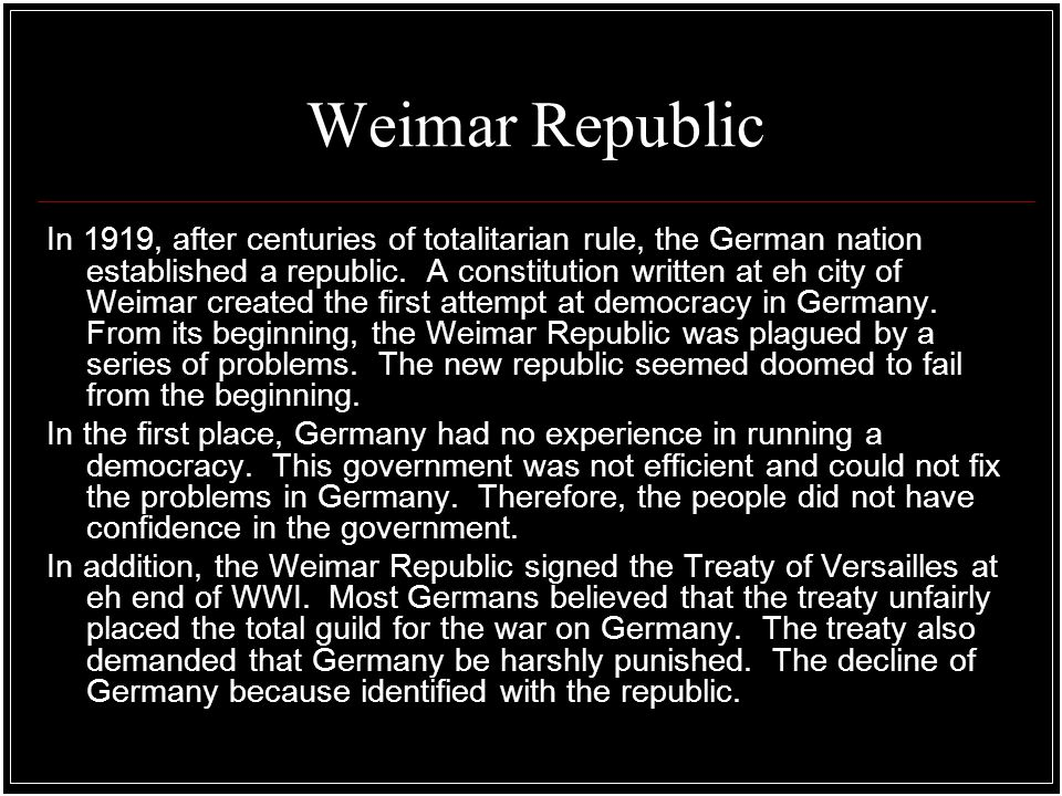 weimar was a sick economy unable Learn about and revise weimar germany between 1918 and 1924 with this   this impacted enormously on the german economy and led to an economic  in  november 1922 germany was unable to make its reparations payment as  scheduled  people on fixed incomes, like students, pensioners or the sick,  found their.