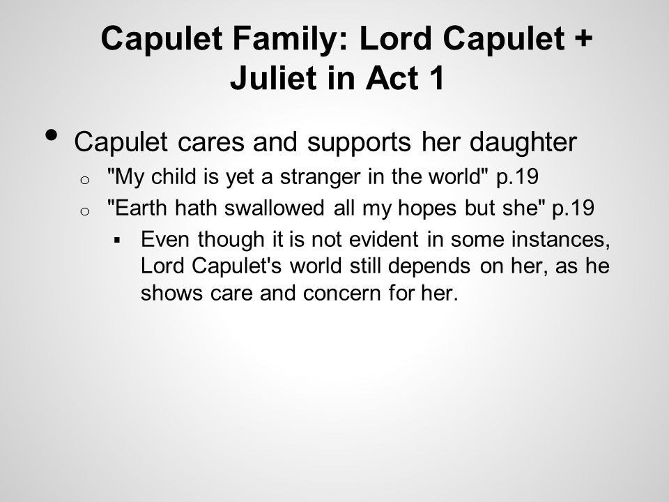 Capulet Family: Lord Capulet + Juliet in Act 1