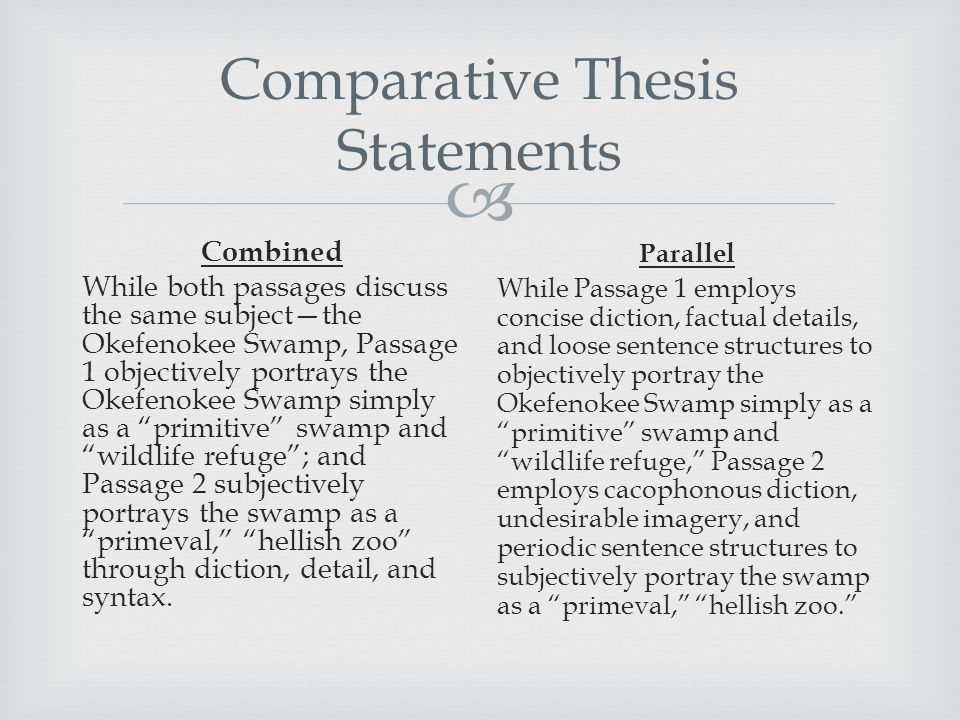 thesis of comparative essay If you have any difficulties with using comparative essay format and academic writing in general, then visit our company and our team will cope with your tasks.