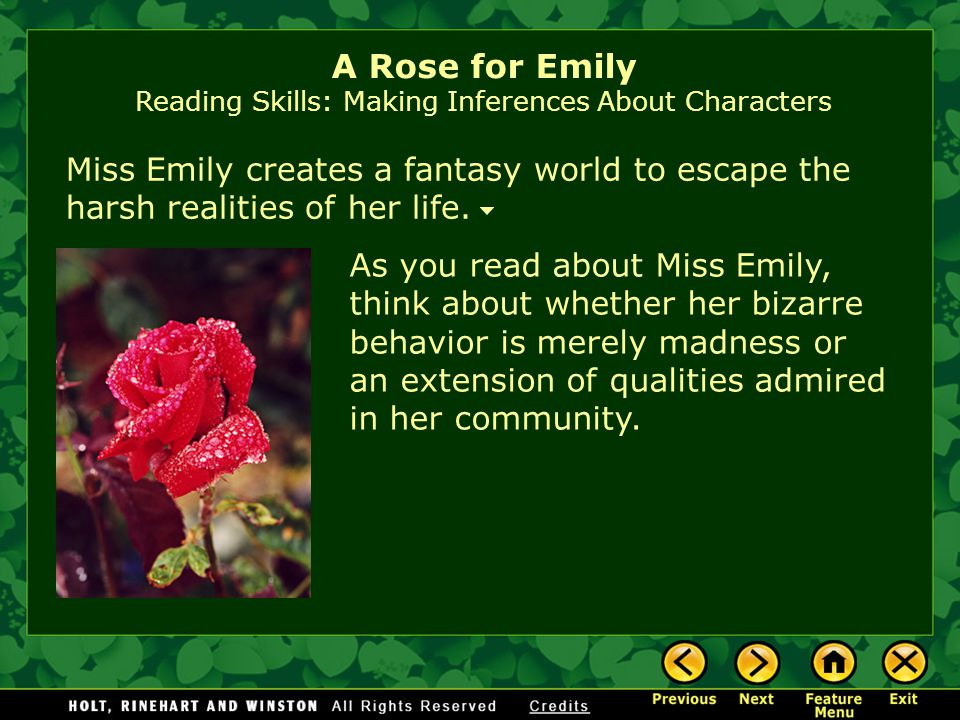 the life of emily in a rose for emily by william faulkner Free summary and analysis of the events in william faulkner's a rose for emily that won't make you snore we promise.