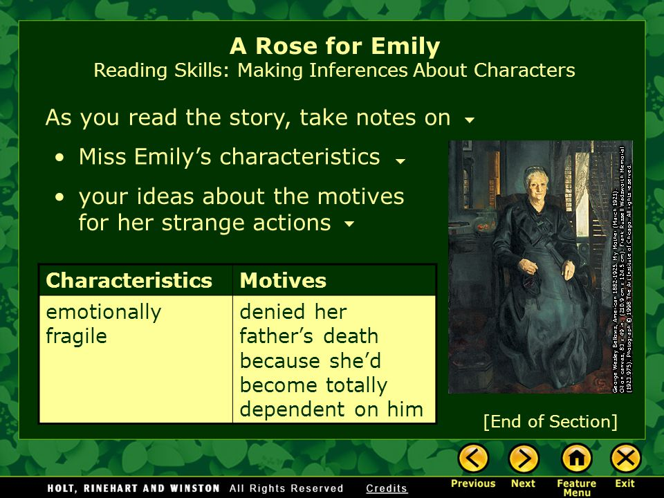 the characterization in the story a rose for emily At first glance a strange gothic story, of a misunderstood—or crazy—woman who   the three characters—emily, homer, and the negro—are.