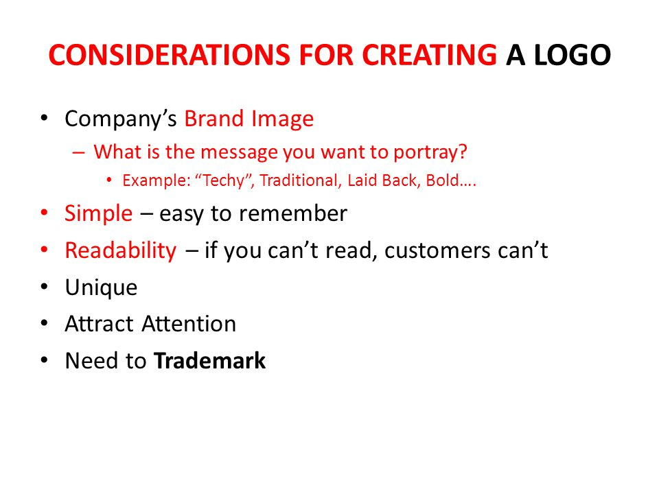 CONSIDERATIONS FOR CREATING A LOGO
