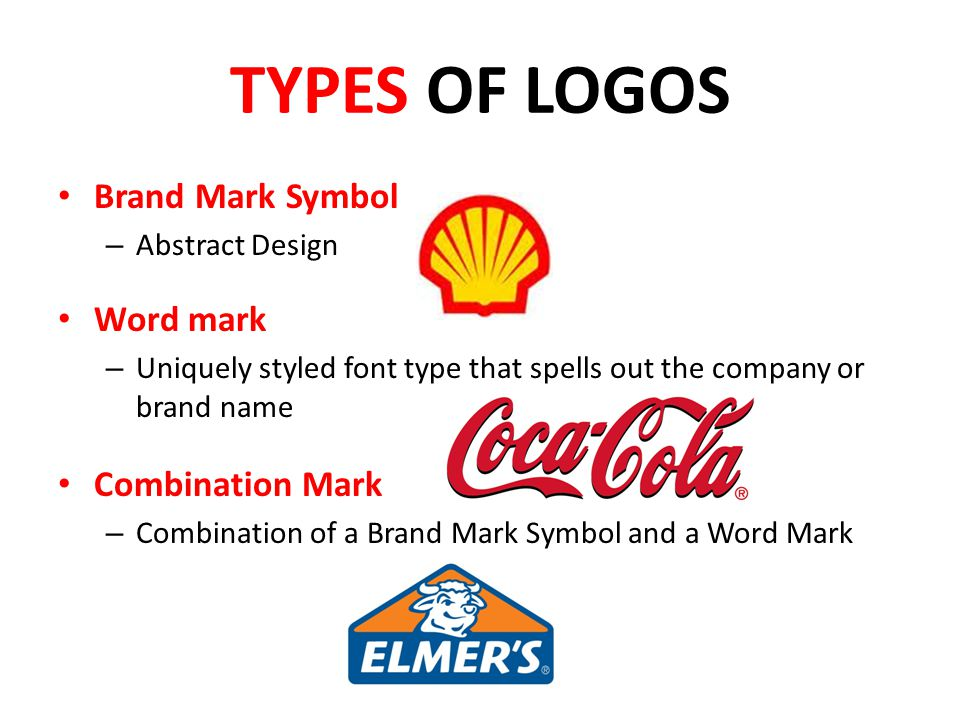 TYPES OF LOGOS Brand Mark Symbol Word mark Combination Mark