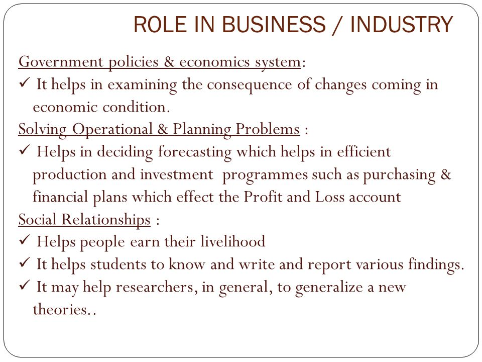 ROLE IN BUSINESS / INDUSTRY