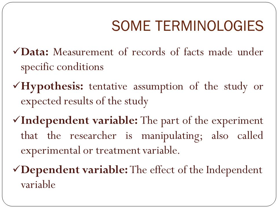 SOME TERMINOLOGIES Data: Measurement of records of facts made under specific conditions.