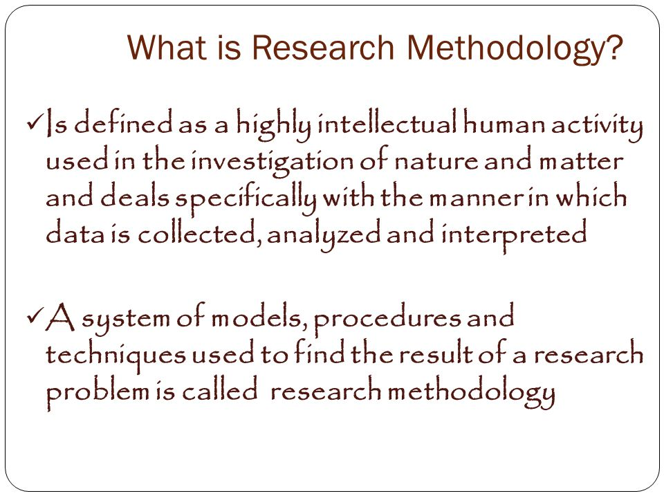 Use 'research methodology' in a Sentence