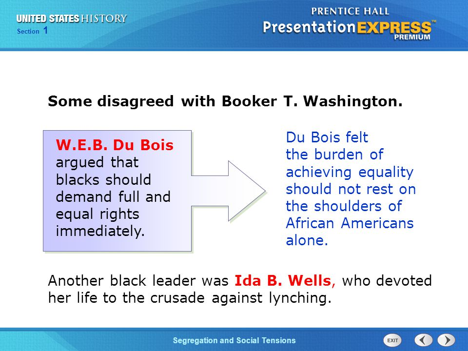 Some disagreed with Booker T. Washington.