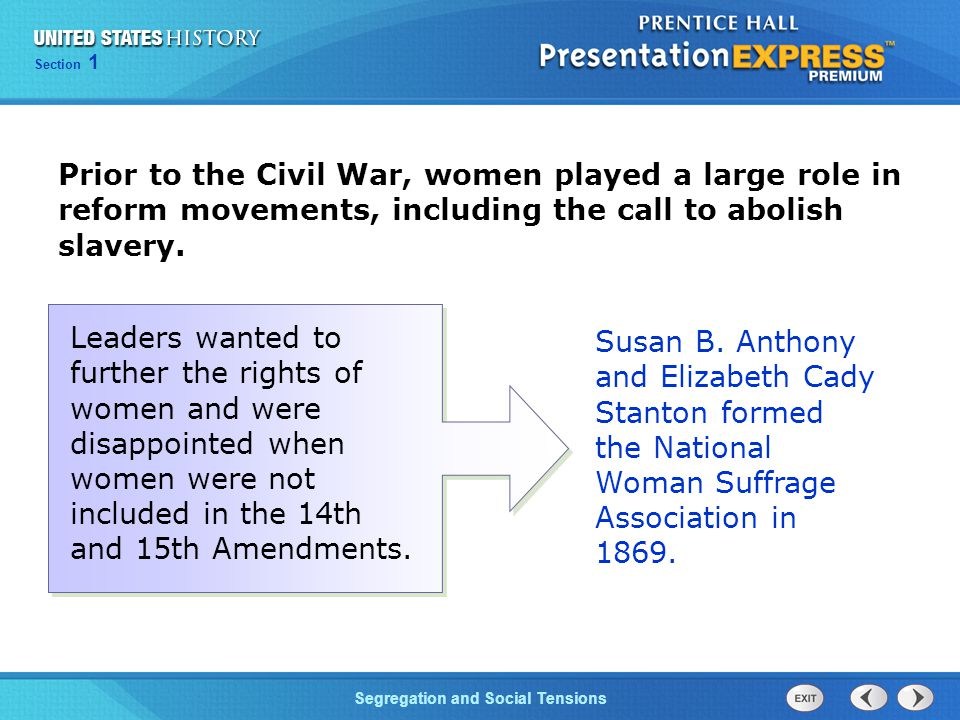 Prior to the Civil War, women played a large role in reform movements, including the call to abolish slavery.