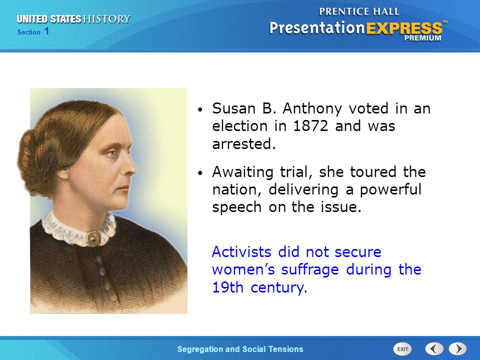 Susan B. Anthony voted in an election in 1872 and was arrested.