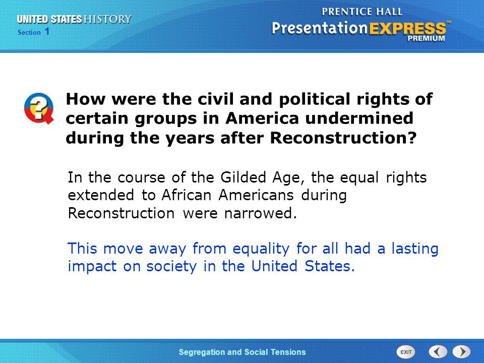 How were the civil and political rights of certain groups in America undermined during the years after Reconstruction