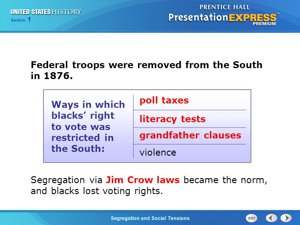 Federal troops were removed from the South in 1876.