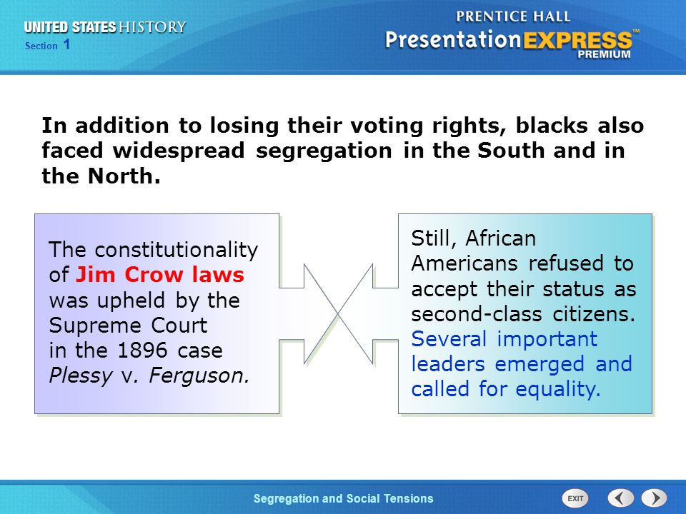 In addition to losing their voting rights, blacks also faced widespread segregation in the South and in the North.