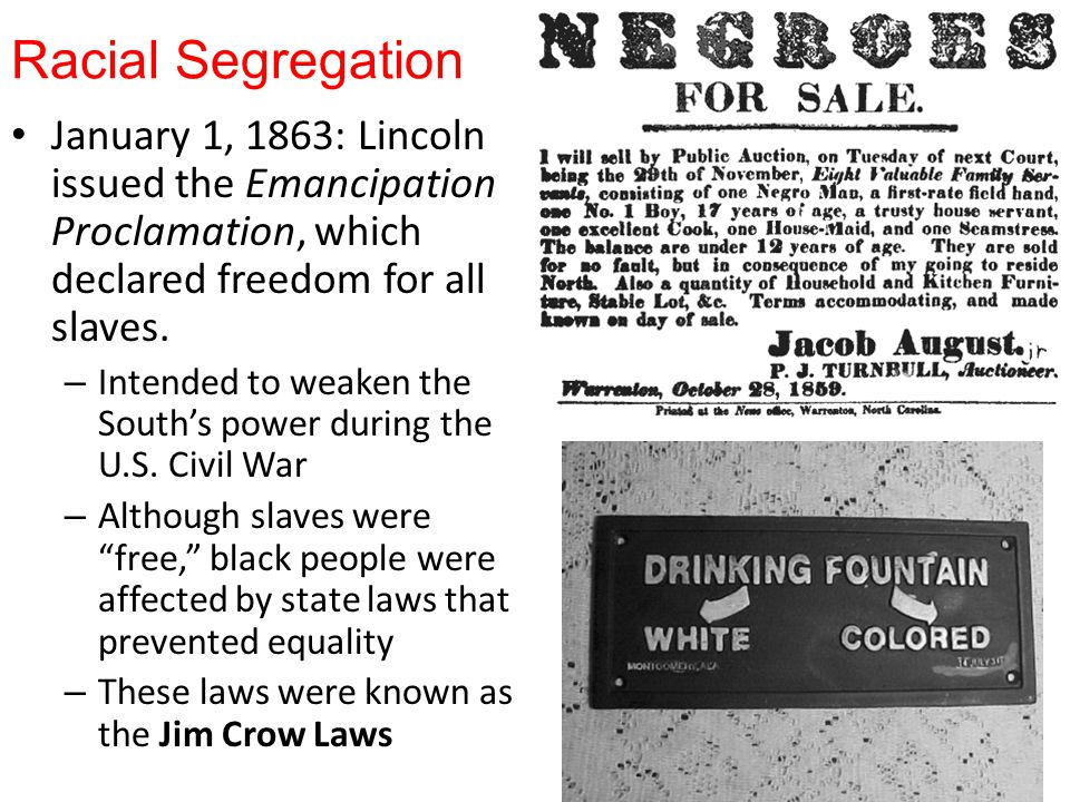 segregation white people and emancipation proclamation Segregation in united states healthcare: from reconstruction to  segregation in united states healthcare:  emancipation proclamation of 1863 to the civil.