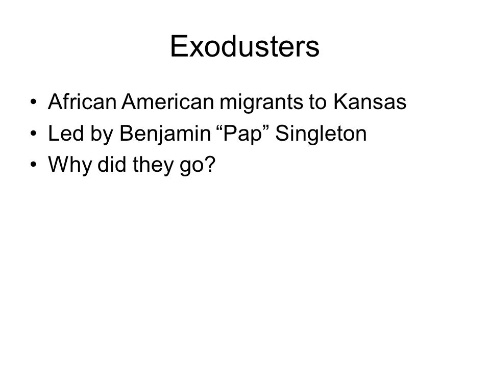 Exodusters African American migrants to Kansas