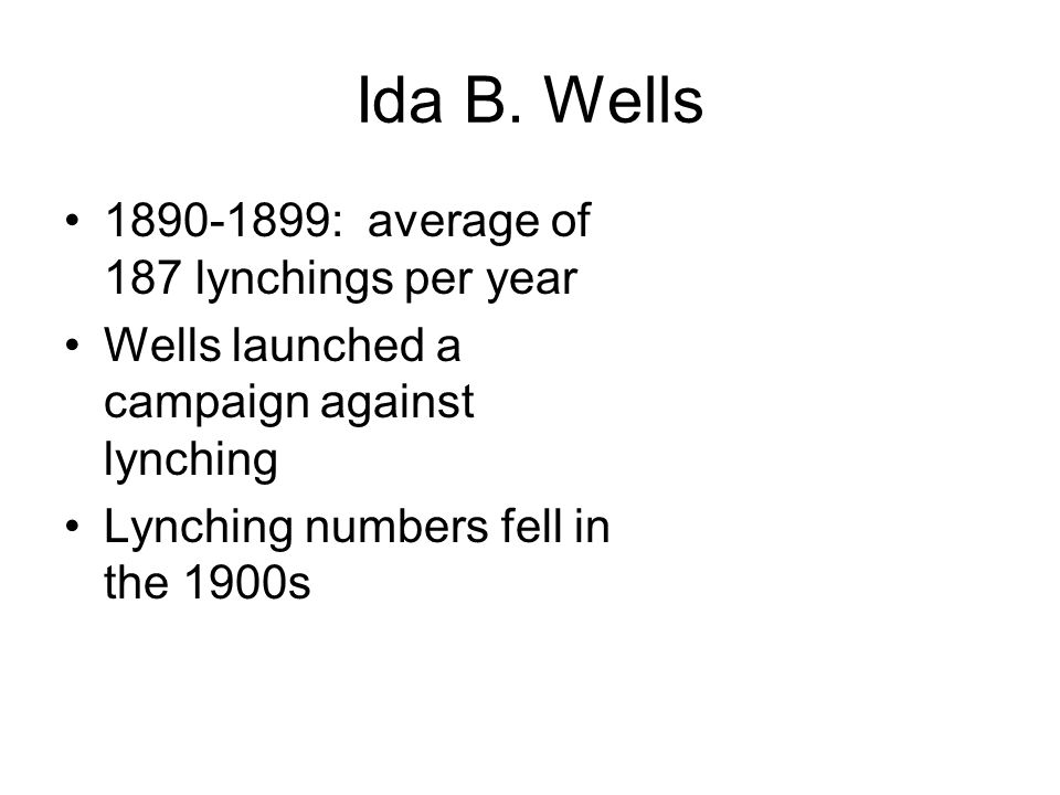 Ida B. Wells : average of 187 lynchings per year