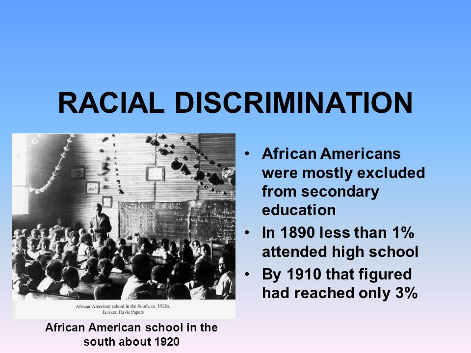 racial discrimination in education The proposed solutions to racism are varied and diverse in nature, although most involve education and open communication between racial leaders and citizens on all sides while some propose that the solution would involve giving minorities greater opportunity, most agree that racial tensions cannot.