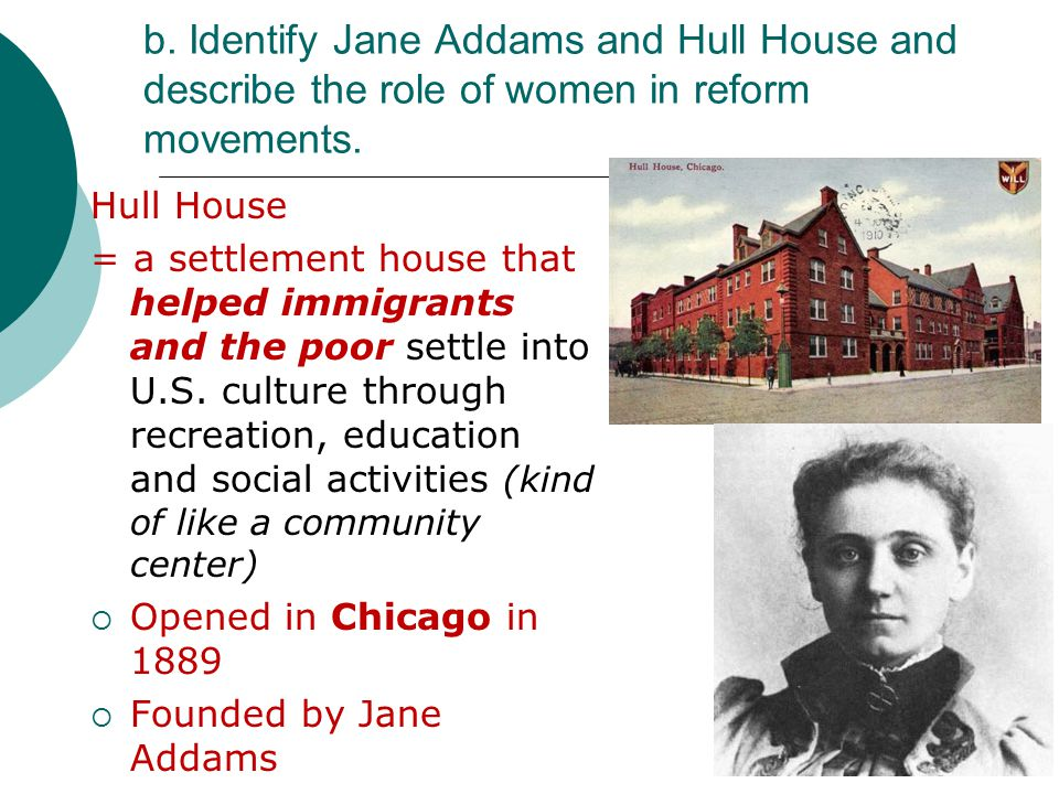 jane addams and the progressive movement essay Book analysis: jane addams' societal ideas in 'twenty years at hull house' current essay topics guide is an attempt to mark out the typical topics requested by our customers and explain the research and writing techniques in a nutshell.