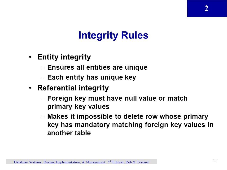 Integrity Rules Entity integrity Referential integrity