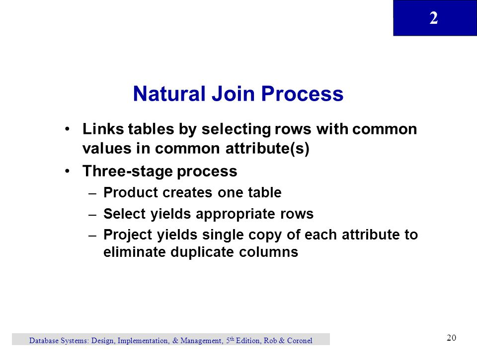 Natural Join Process Links tables by selecting rows with common values in common attribute(s) Three-stage process.
