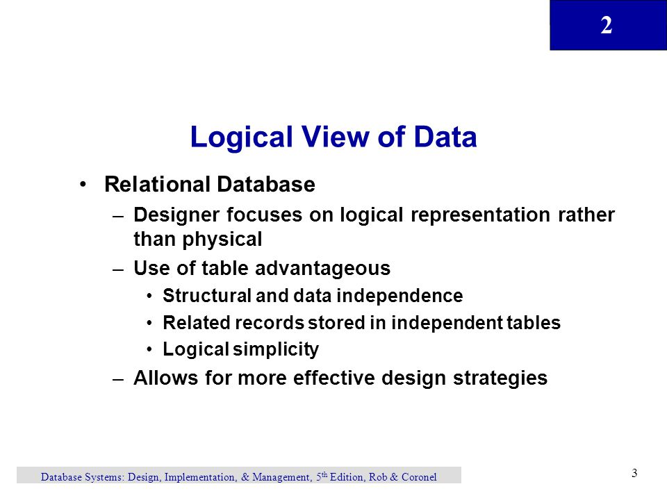Logical View of Data Relational Database