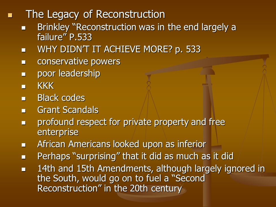 why reconstruction failed Here are the three reasons why reconstruction failed to live up to its potential: 1 the intervention of the supreme court 2 the rejection of the measures used to ensure equality of human rights by the southern whites 3.