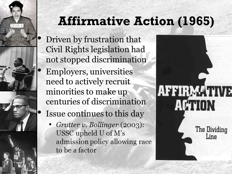 affirmative action and civil rights violation The court finds that a law school's limited affirmative action use of race in   challenge the school's pledge of allegiance policy as a violation of the child's.