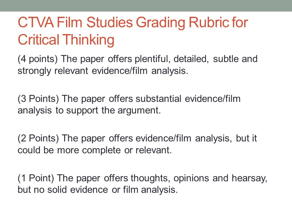 rubric for critical analysis essay